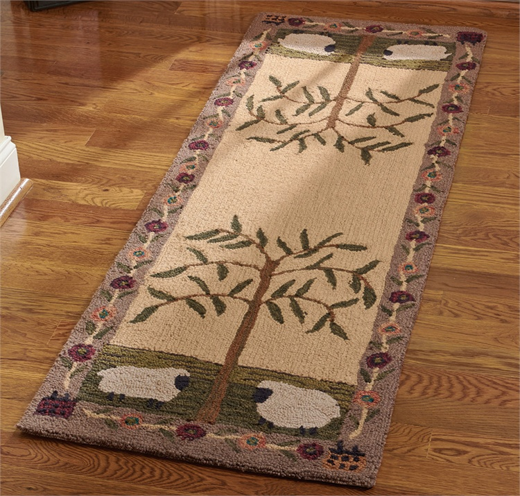 Country Folk Willow and Sheep Hand Hooked Rug Runner