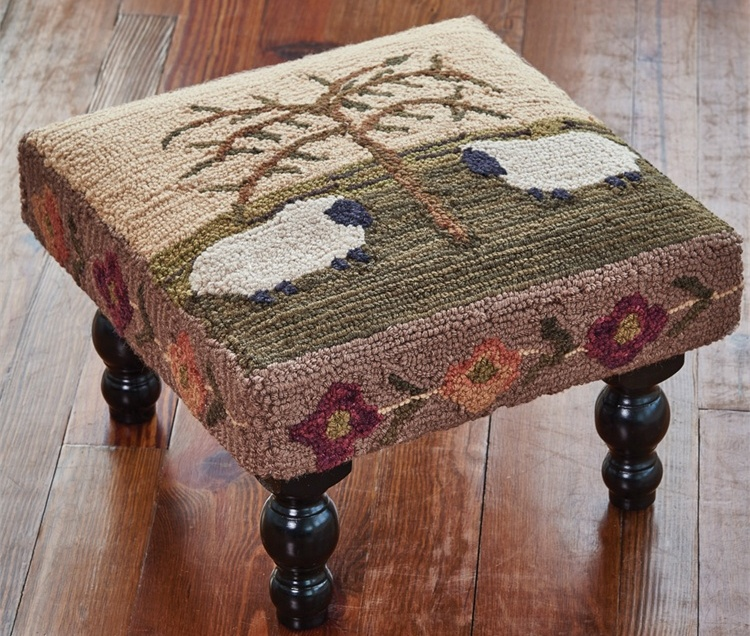 Country Folk Art Willow and Sheep Hooked Stool