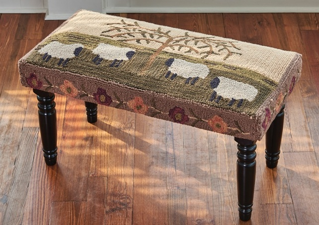 Country Folk Art Willow and Sheep Hooked Bench