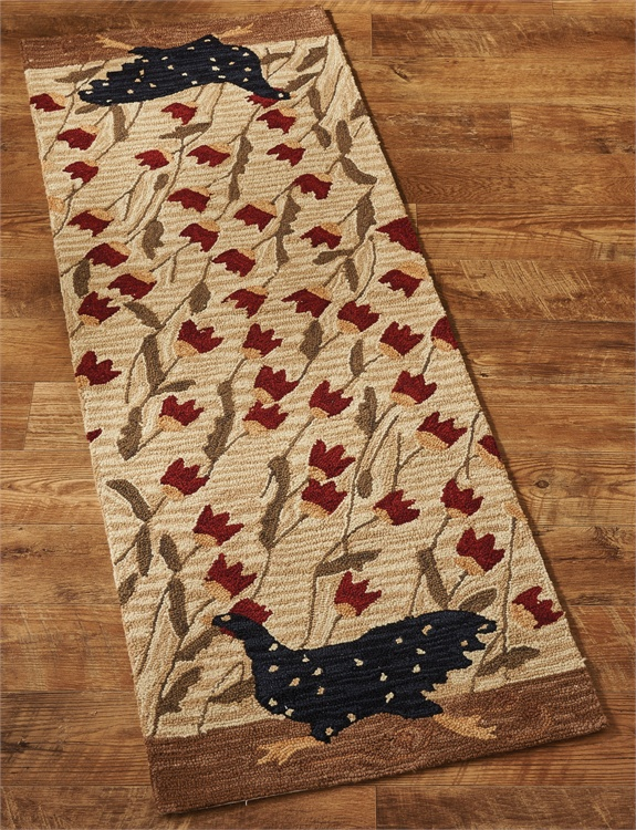 Farmhouse Country Chicken Run Hooked Rug Runner