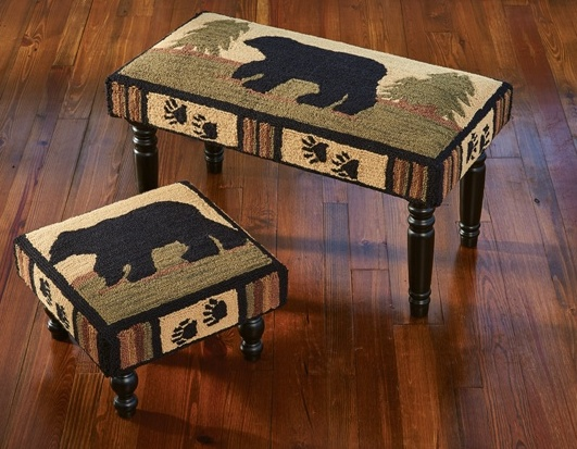 Rustic Lodge Adirondack Bear Hooked Bench or Stool