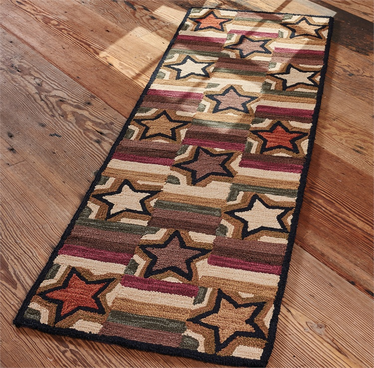 Star Block Hooked Rug Runner