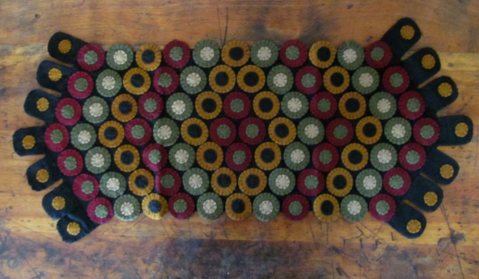 Primitive Wool Penny Table Runner - Row of Pennies