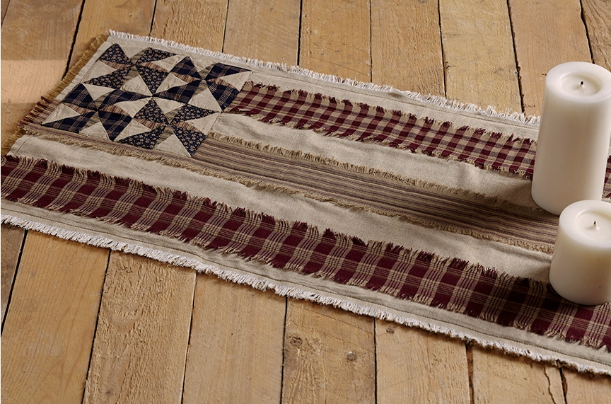 Country Patriotic Pinwheel Flag Table Runner