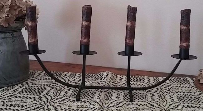 Primitive Colonial Swedish Centerpiece Taper Candle Holder