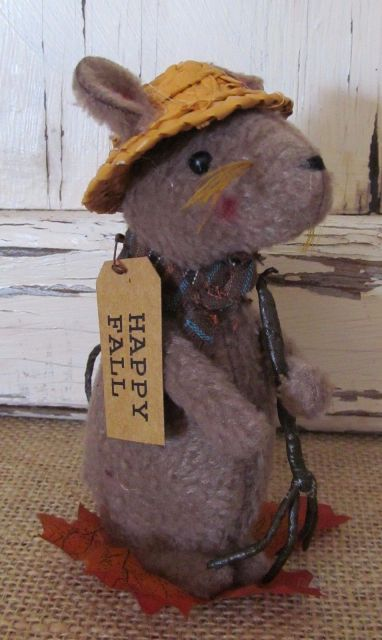 Primitive Country Autumn Mini Mouse Seasonal Fall Home Decoration