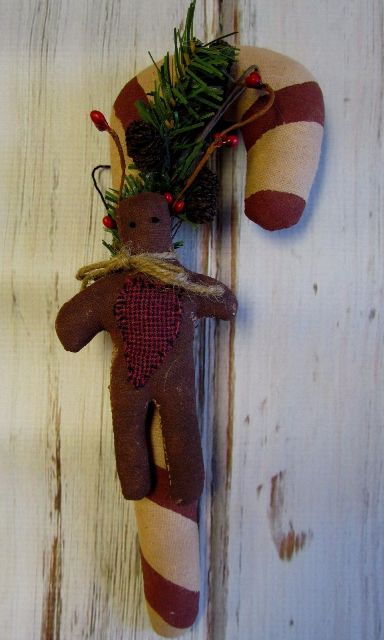 Primitive Christmas Fabric Candy Cane with Gingerbread Man Decoration