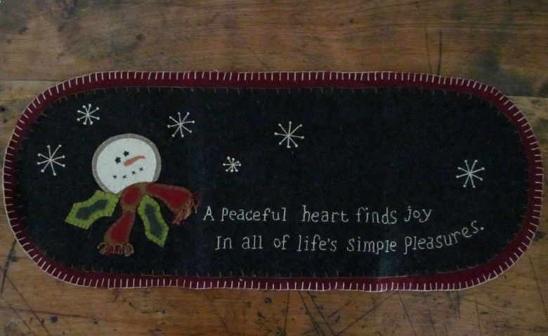 Primitive Country Winter Snowman Peaceful Heart Table Runner