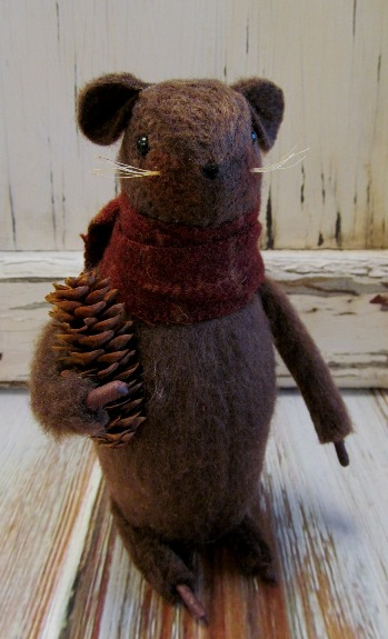 Primitive Handmade Mouse with Pinecone