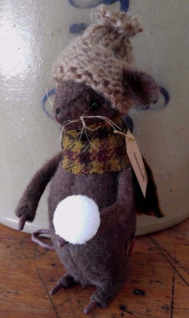 Primitive Handmade Winter Mouse with Snowball