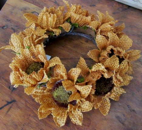 Primitive Country Burlap Sunflower Pillar Candle Ring