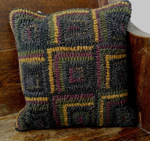 Primitive Rustic Square Hooked Wool Pillow