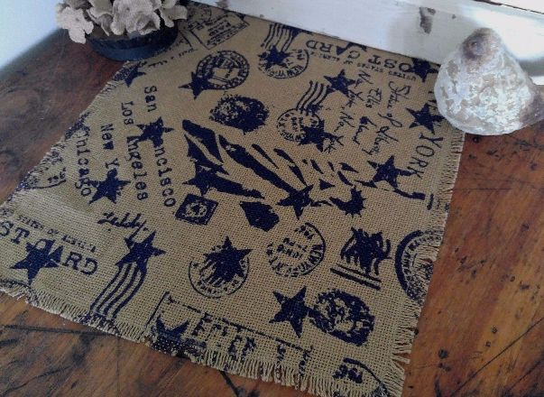 Vintage Postcard Print Burlap Table Runner