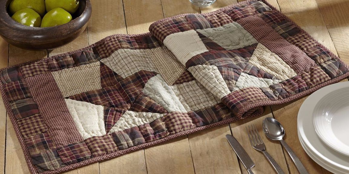 Primitive Country Burgandy Patchwork Star Quilted Table Runner