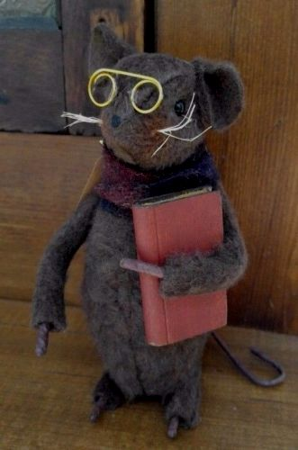 Primitive Country Handmade Mouse Figure with Book & Glasses