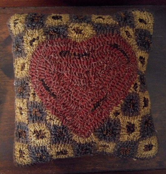 Primitive Country Hooked Wool Heart Pillow
