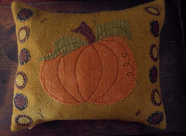 Primitive Country Rustic Pumpkin and Penny Wool Pillow