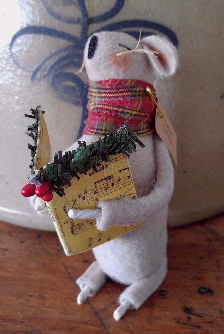 Primitive Country Handmade Christmas Carol Mouse - Made in USA