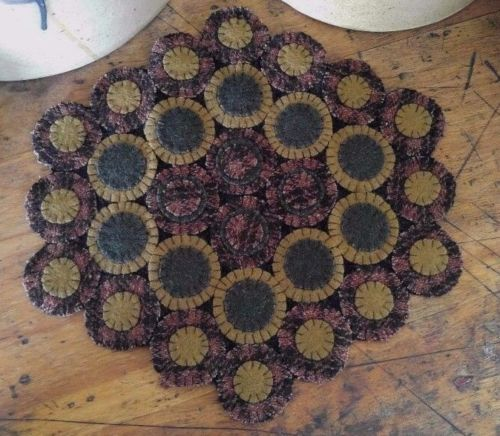 Primitive Wool Rustic Adele Wool Blend Penny Table / Candle Mat