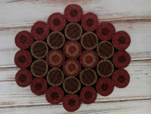 Primitive Wool Rustic Dakota Red Wool Blend Penny Table Mat