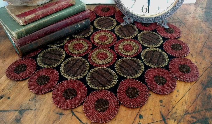Primitive Wool Rustic Dakota Red Wool Blend Penny Table Mat
