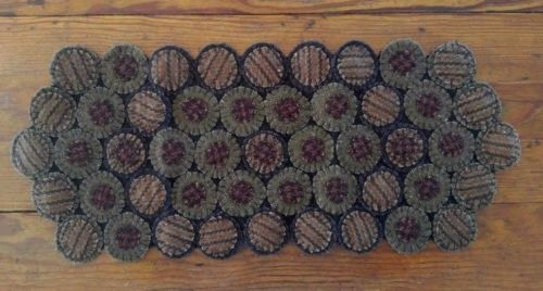 Primitive Wool Rustic Country Road Wool Blend Penny Table Runner