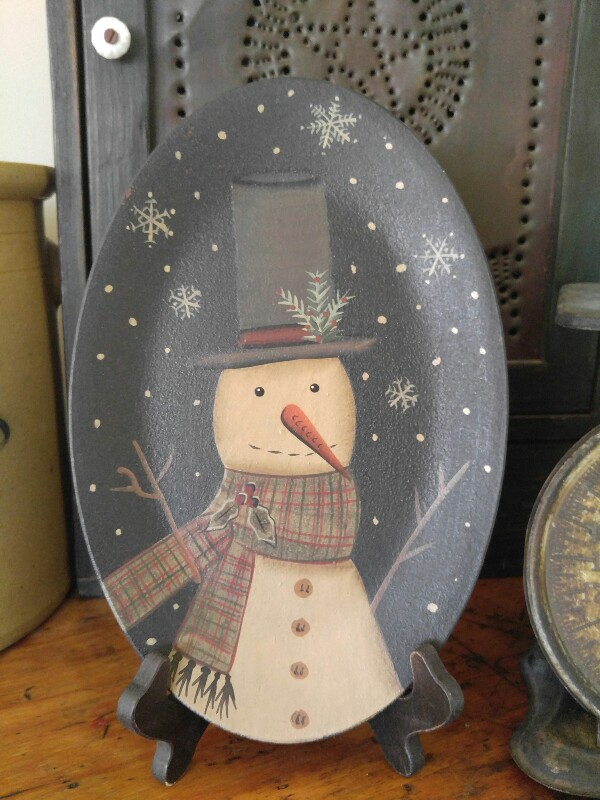 Primitive Country Winter Snowman Oval Home Decor Wooden Decorative Plate
