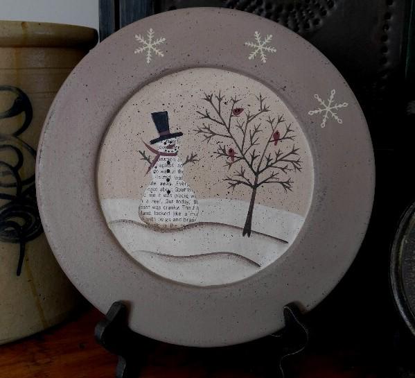 Primitive Country Winter Snowman Scene Home Decor Wooden Decorative Plate