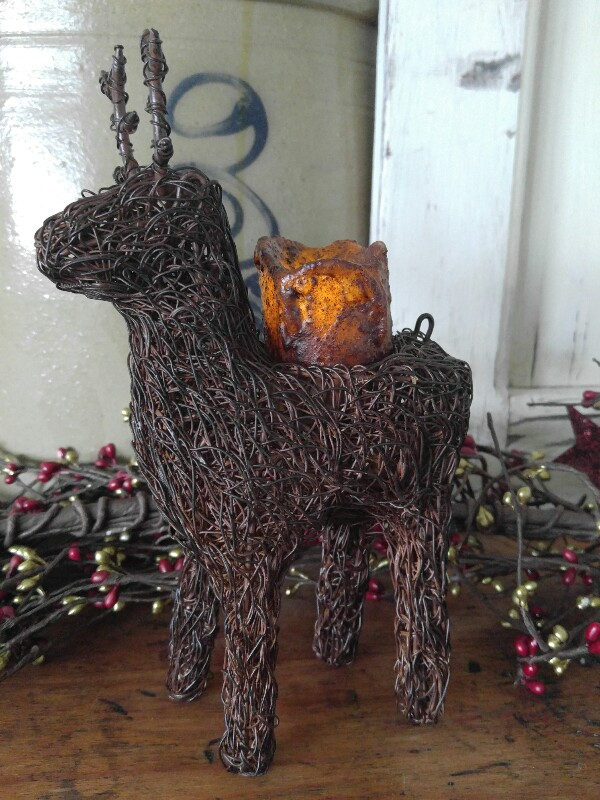 Primitive Country Wire Reindeer Tealight Candle Holder