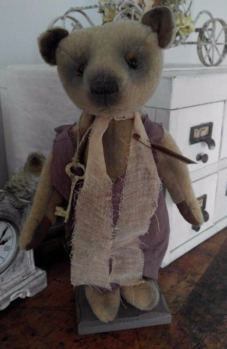 Primitive Country Standing Teddy Bear Home Decor Display Doll