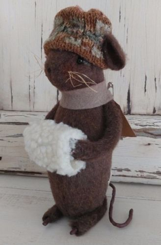 Handmade Winter Girl Mouse with Scarf & Hat