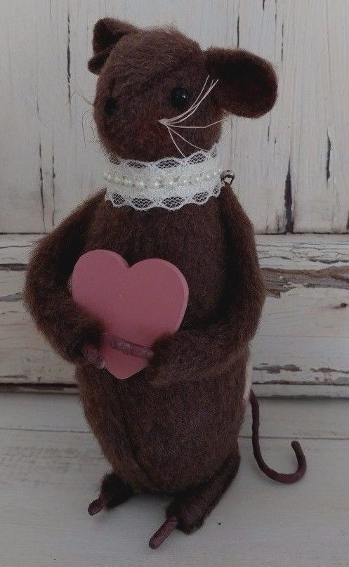 Handmade Valentines Girl Mouse with Heart