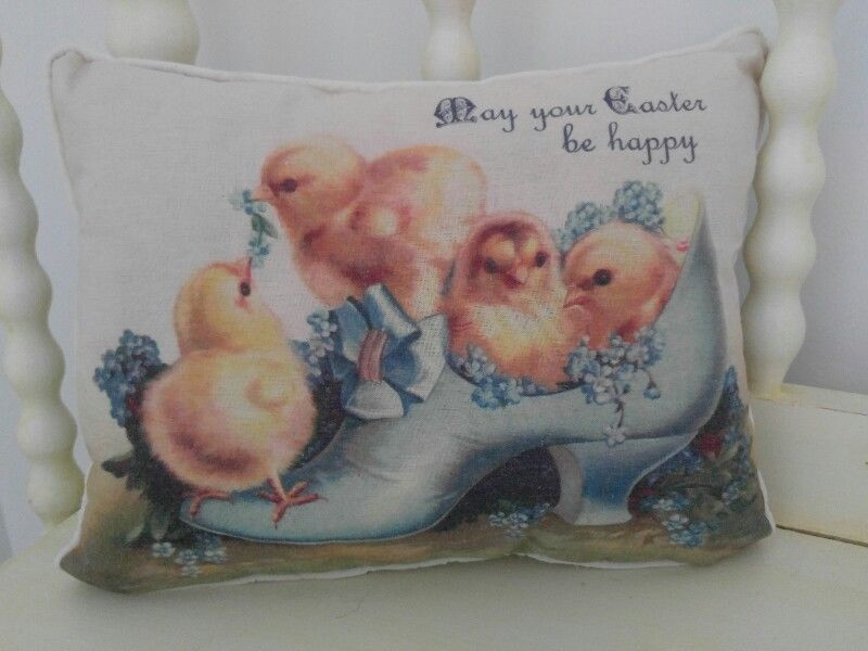 Vintage Postcard Inspired Chick and Shoe Spring / Easter Home Accent Pillow