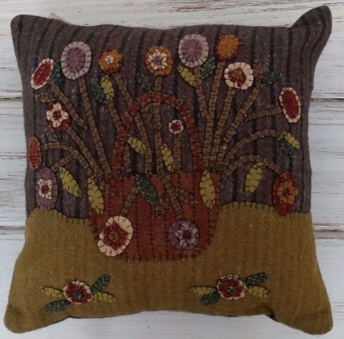 Primitive Country Wool Applique Flower Basket Home Decor Pillow