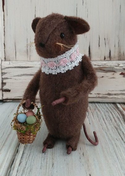 Primitive Country Handmade Easter Girl Mouse with Egg Basket- Made in USA