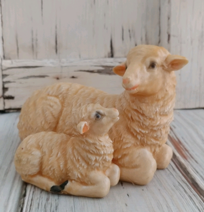 Vintage Inspired Wax Coated Mamma & Baby Sheep Home Decor Accent