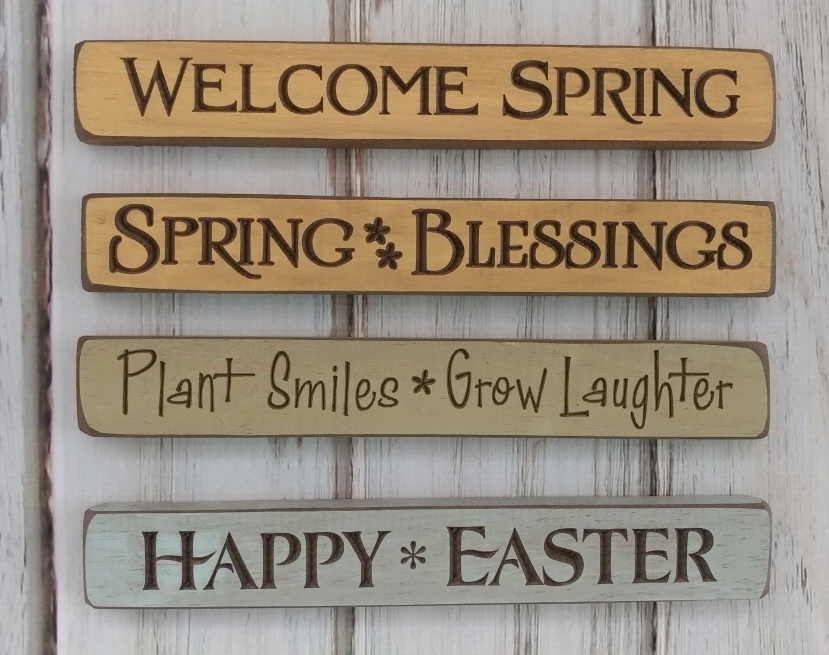 Spring Easter and Garden Engraved Wooden Home Decorative Message Block