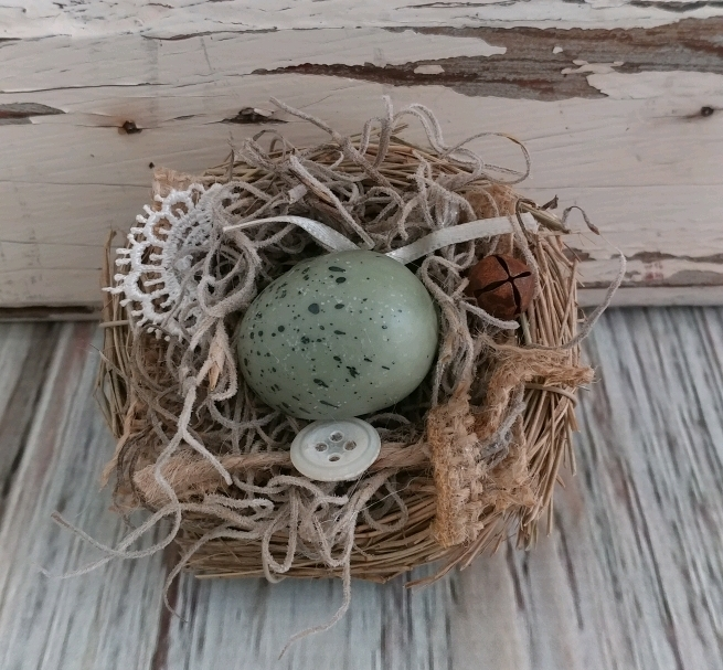 Handmade Spring Cottage / Shabby Style Decorative Bird Nest