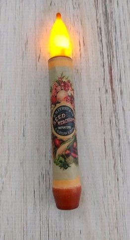 Vintage Postcard Inspired Seed Packet Flower Operated Timer Candle