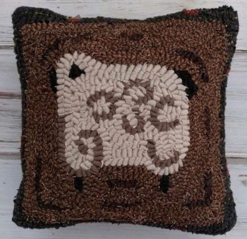 Primitive Hooked Wool Sheep Pillow - Rustic Home Decor