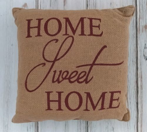 Country Farmhouse Home Sweet Home Burlap Home Decor Accent Pillow