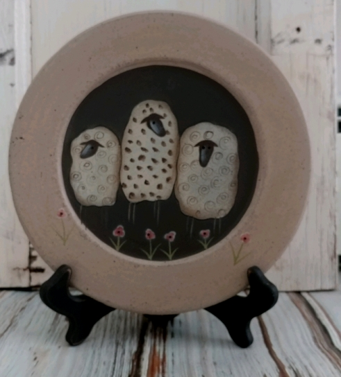 Cottage Country Sheep Decorative Plate - Rustic Home Decor