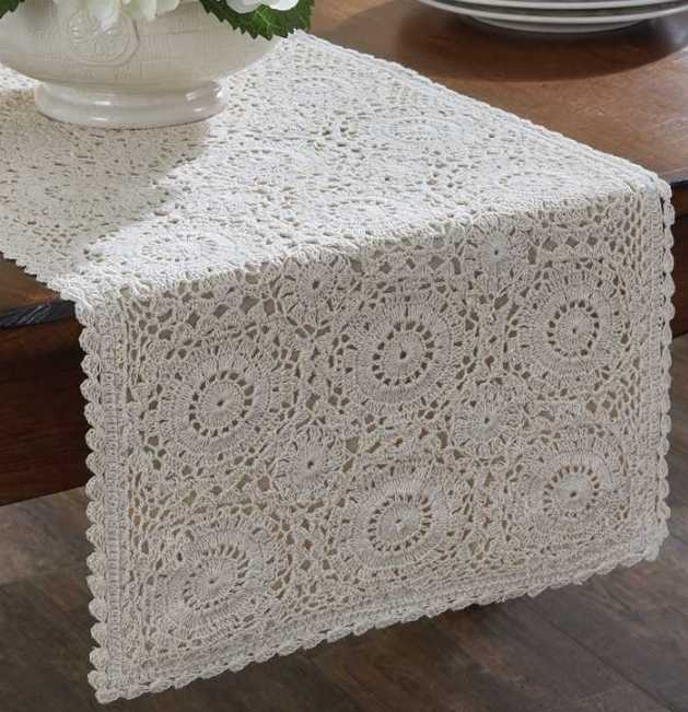 #120-12 Farmhouse Cottage Crocheted Lace Long Table Runner