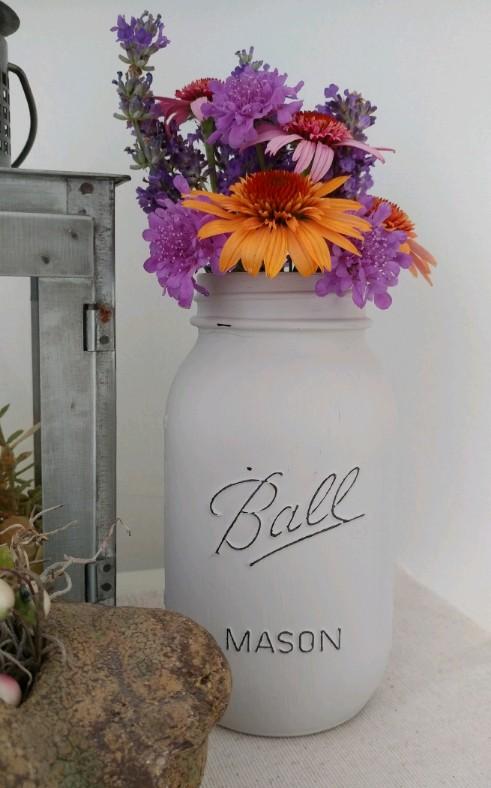 Country Cottage Rustic Handmade Distressed Mason Jar Vase