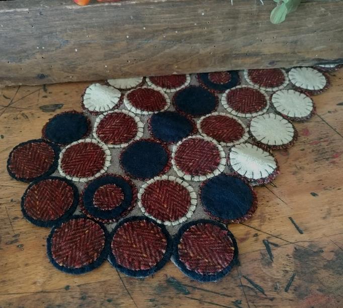 Primitive Wool Rustic Patriot Wool Blend Penny Table Runner