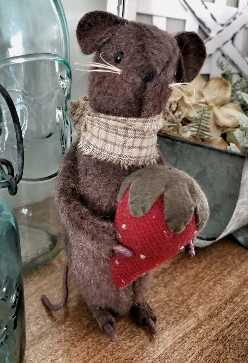 Rustic Summer Strawberry Mouse Home Decor Figure - Handmade in USA