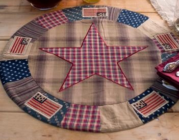 "Country Patriotic Patch Star & Flag 20"" Table Mat"