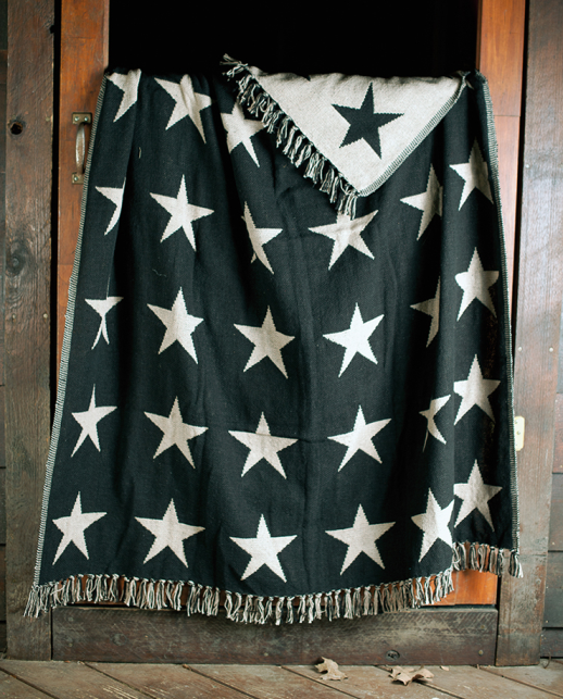 Country Cotton Woven Star Throw - Rustic Home Decor
