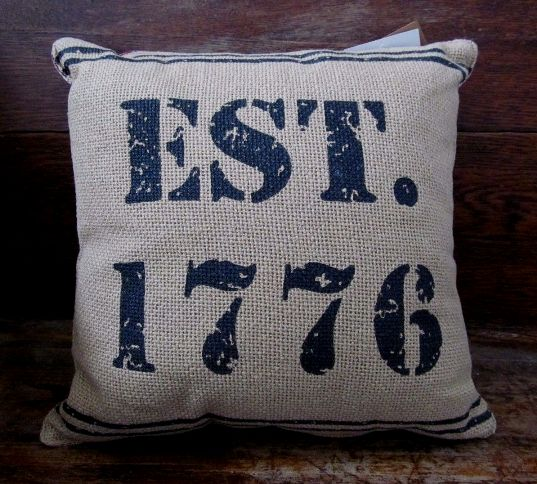 Primitive Country Patriotic Burlap 1776 Home Decor Pillow