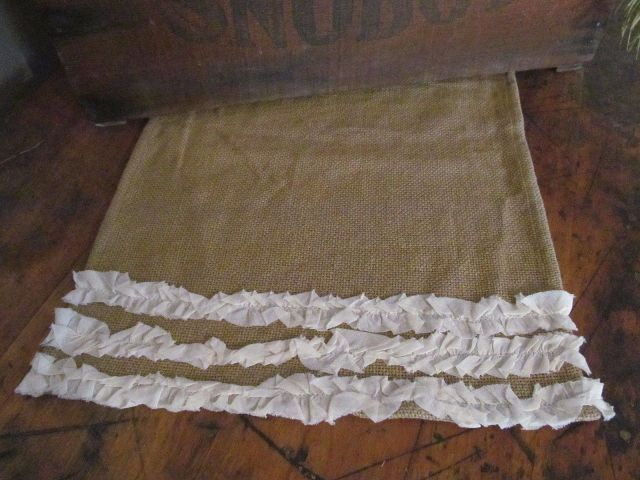 Country Cottage / Shabby Burlap and Cream Ruffle Table Runner